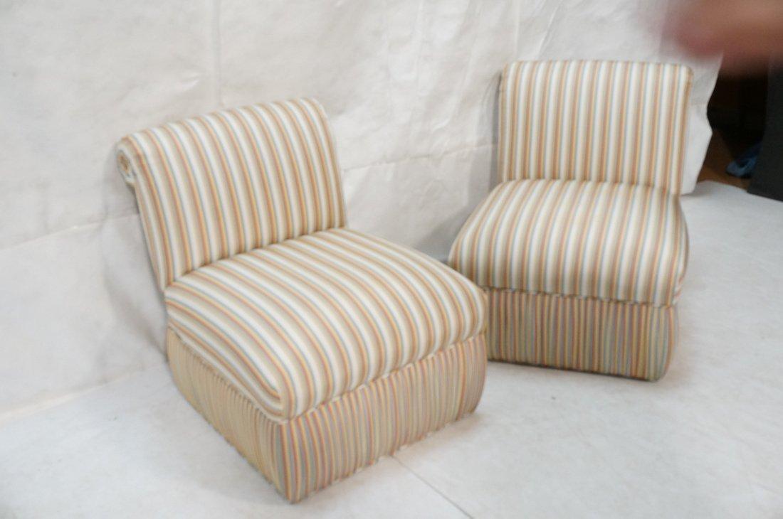 Pr Decorator Striped Fabric Lounge Chairs. Slight - 2
