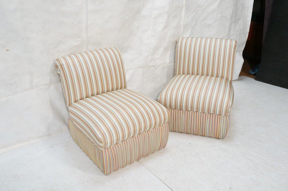 Pr Decorator Striped Fabric Lounge Chairs. Slight - 3