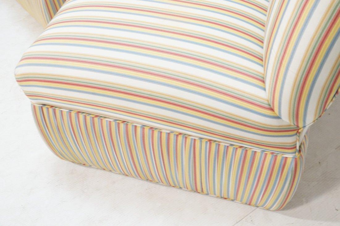Pr Decorator Striped Fabric Lounge Chairs. Slight - 5