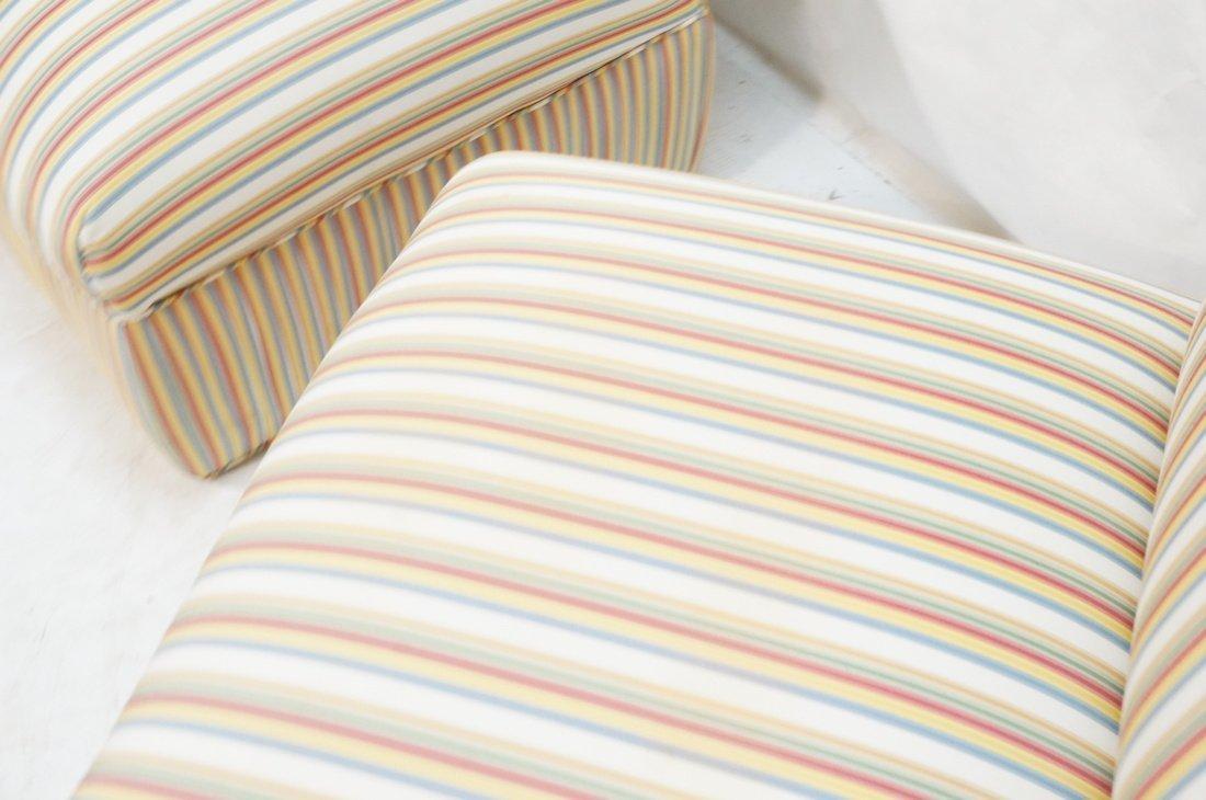 Pr Decorator Striped Fabric Lounge Chairs. Slight - 6
