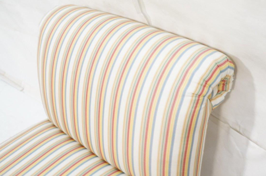 Pr Decorator Striped Fabric Lounge Chairs. Slight - 7