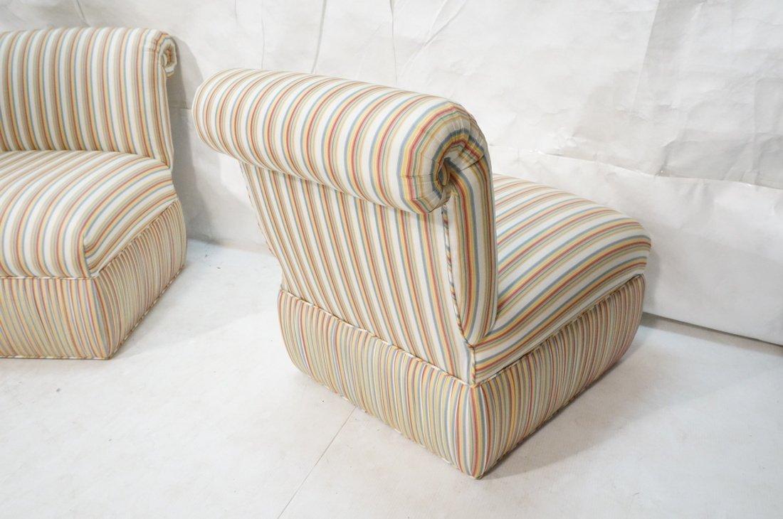 Pr Decorator Striped Fabric Lounge Chairs. Slight - 8