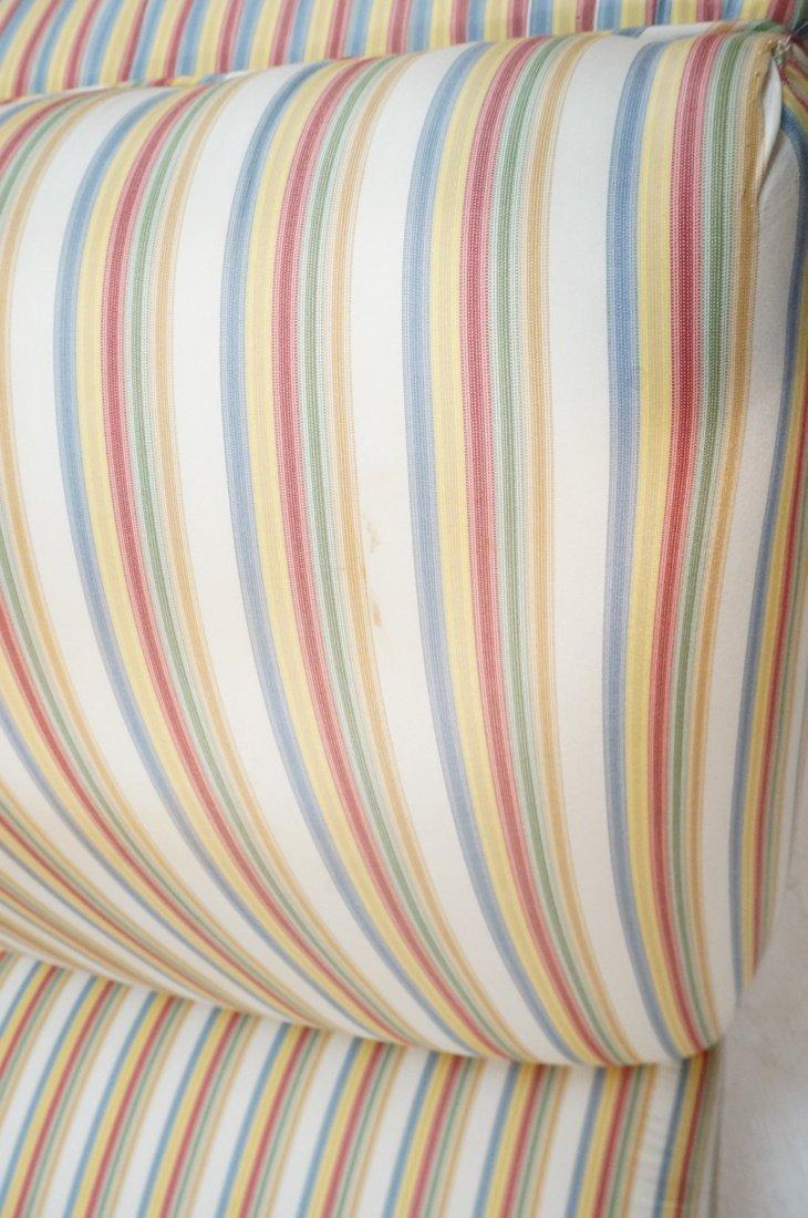 Pr Decorator Striped Fabric Lounge Chairs. Slight - 9
