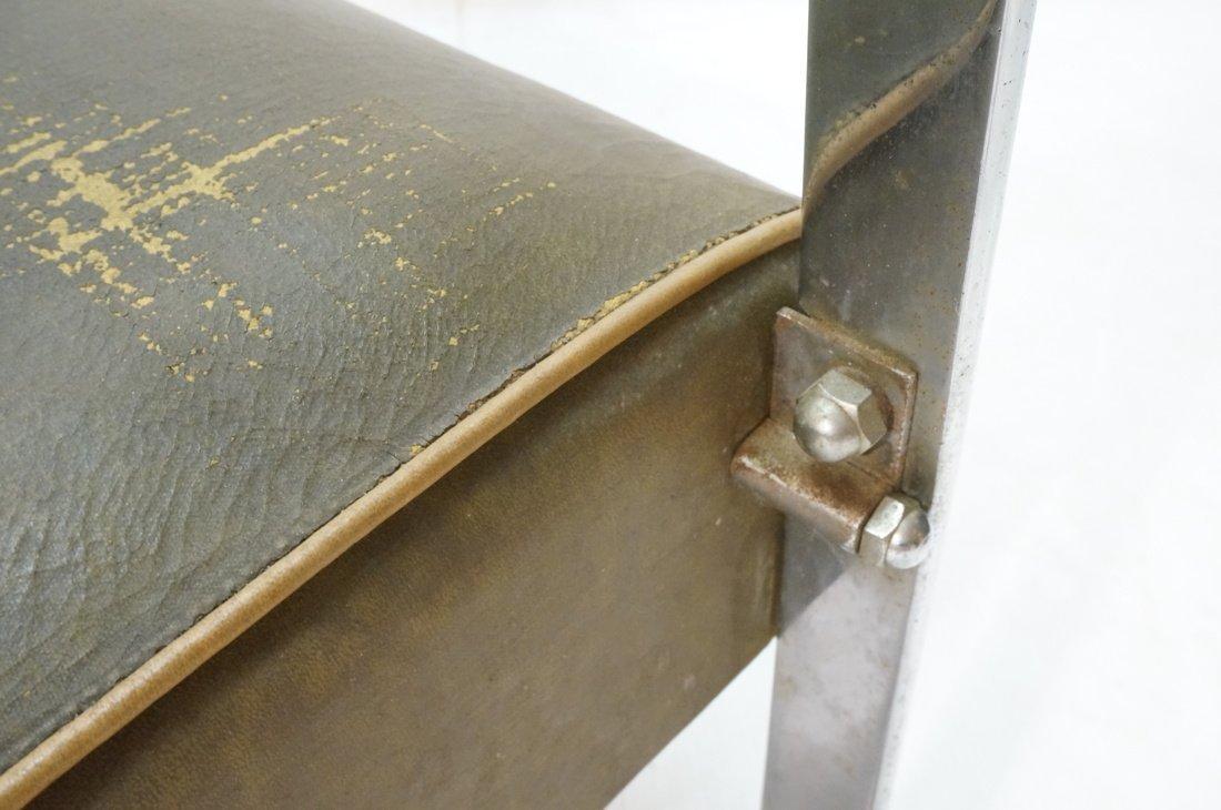 Green Vinyl Modernist Lounge Chair. Thin metal tu - 10