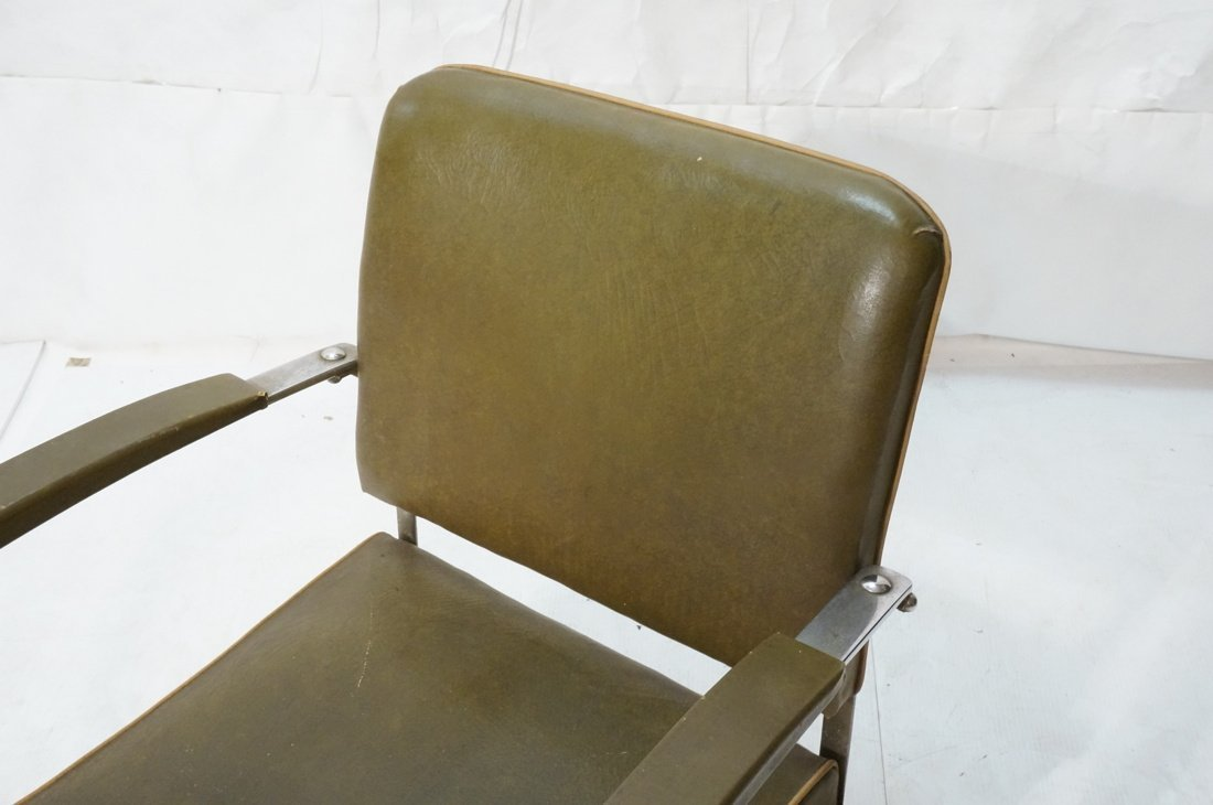 Green Vinyl Modernist Lounge Chair. Thin metal tu - 2