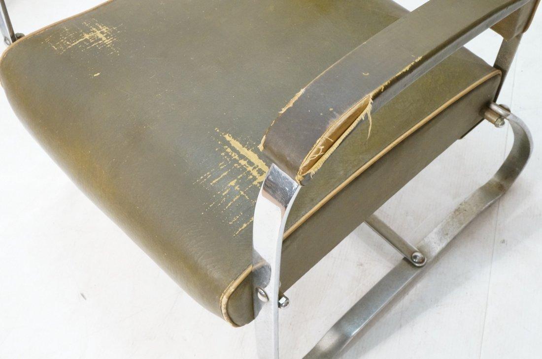 Green Vinyl Modernist Lounge Chair. Thin metal tu - 4