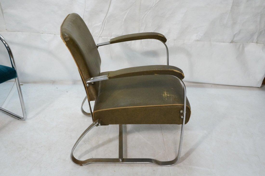 Green Vinyl Modernist Lounge Chair. Thin metal tu - 5