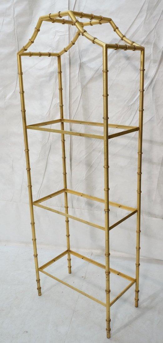 Gold painted Metal Faux Bamboo Etagere. Shelf Uni