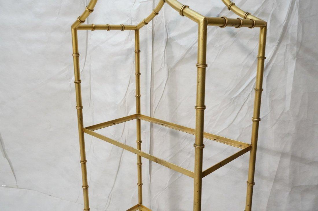Gold painted Metal Faux Bamboo Etagere. Shelf Uni - 3
