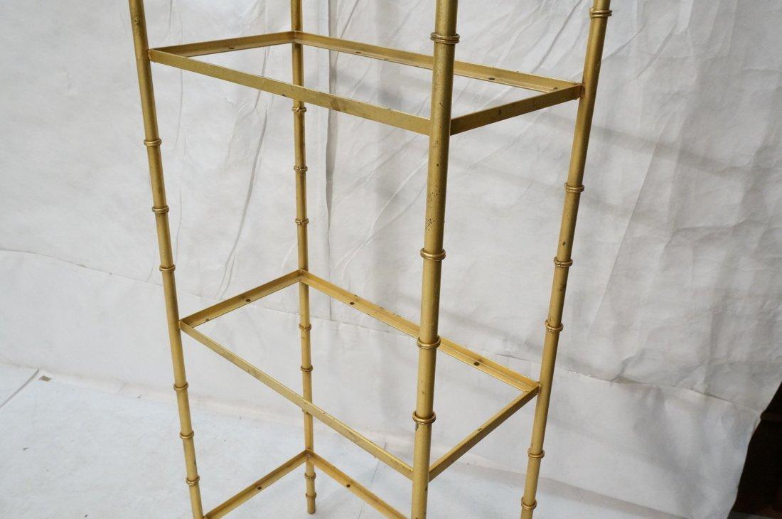 Gold painted Metal Faux Bamboo Etagere. Shelf Uni - 4