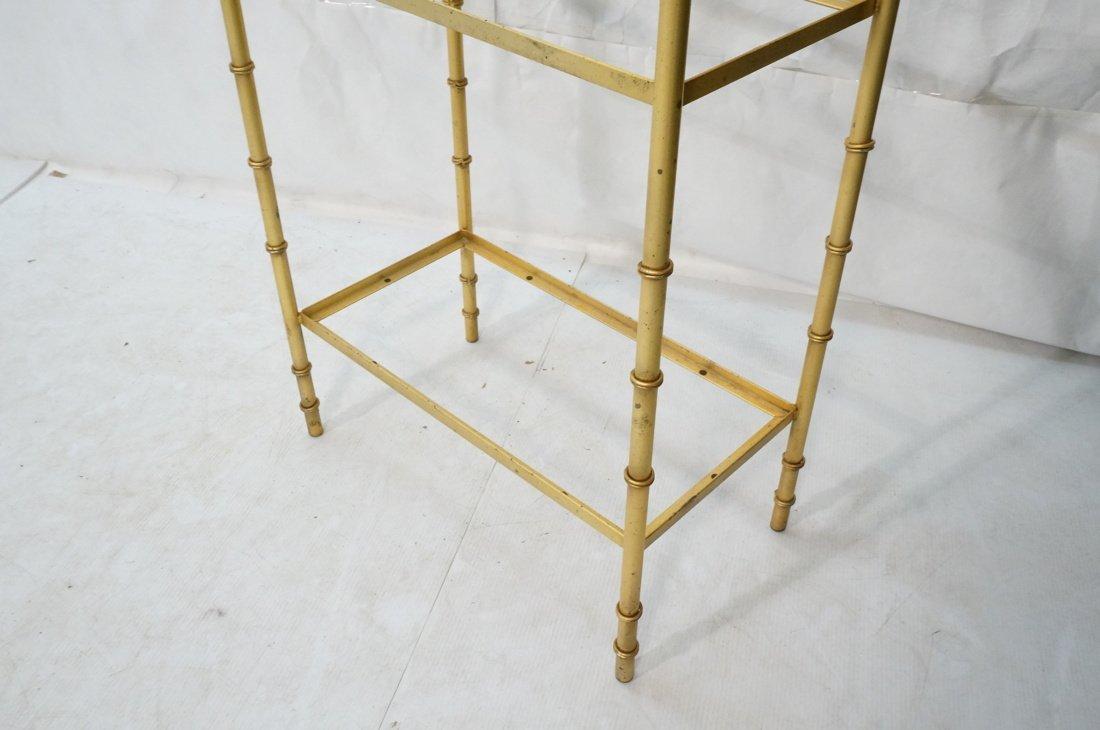 Gold painted Metal Faux Bamboo Etagere. Shelf Uni - 5