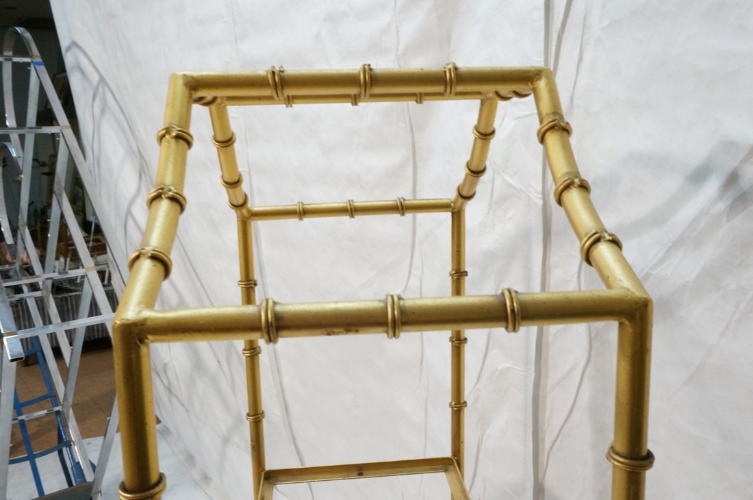 Gold painted Metal Faux Bamboo Etagere. Shelf Uni - 7
