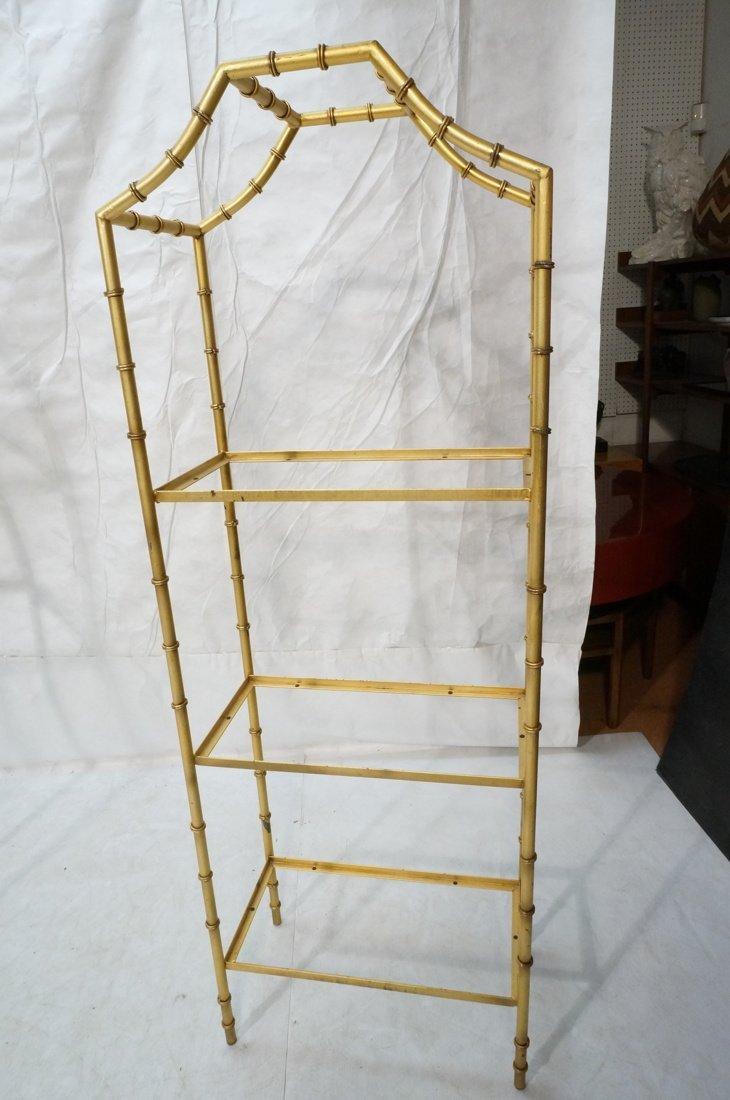 Gold painted Metal Faux Bamboo Etagere. Shelf Uni - 8