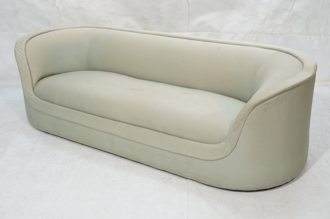 Bowed Arm Modernist Sofa Couch. Completely covere