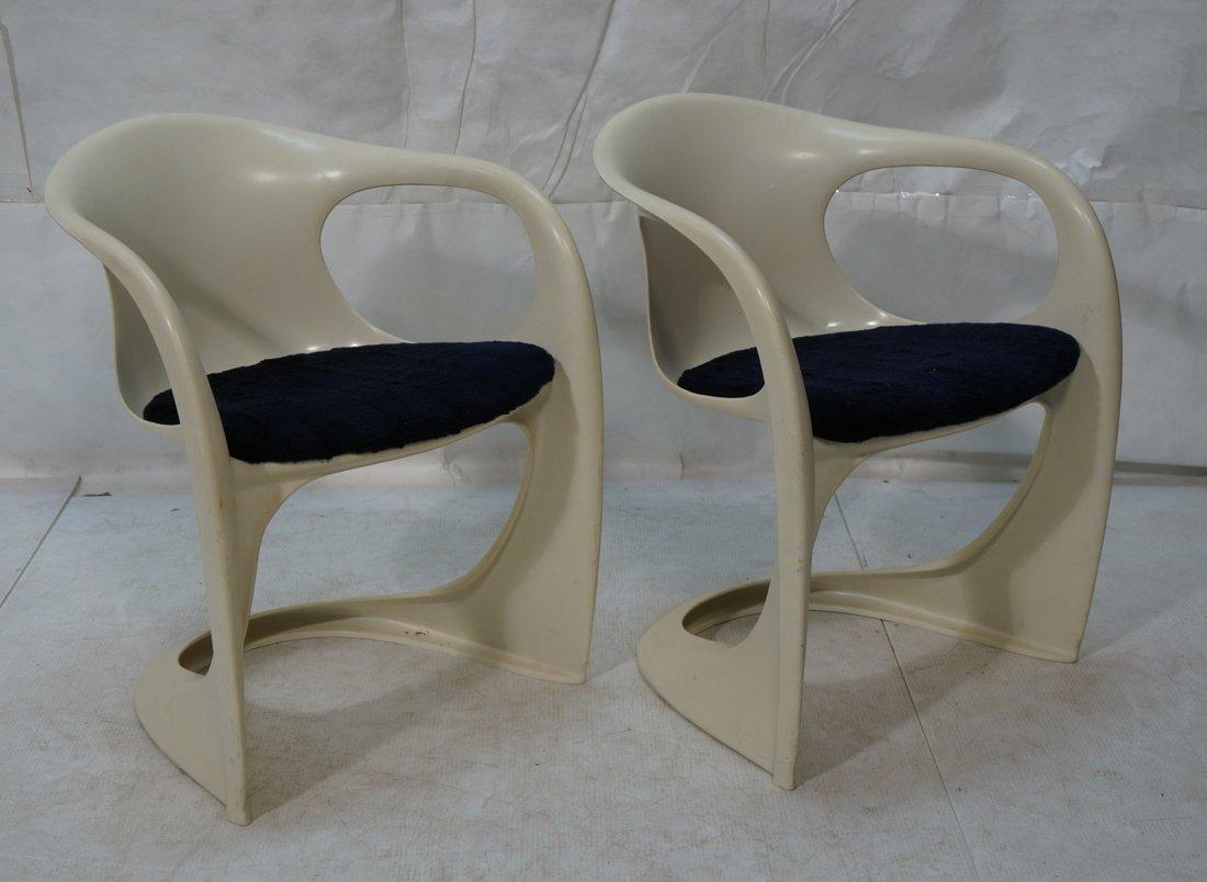 Pr VERNER PANTON Molded Plastic Side Chairs. Arm