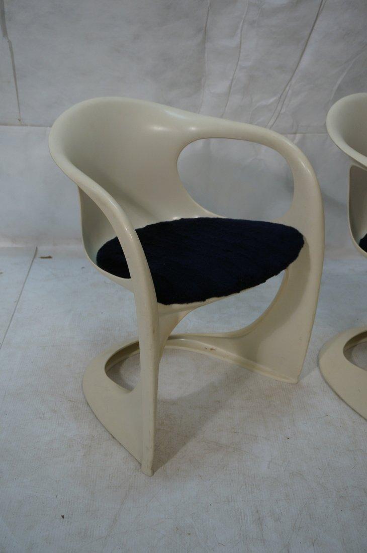 Pr VERNER PANTON Molded Plastic Side Chairs. Arm - 2