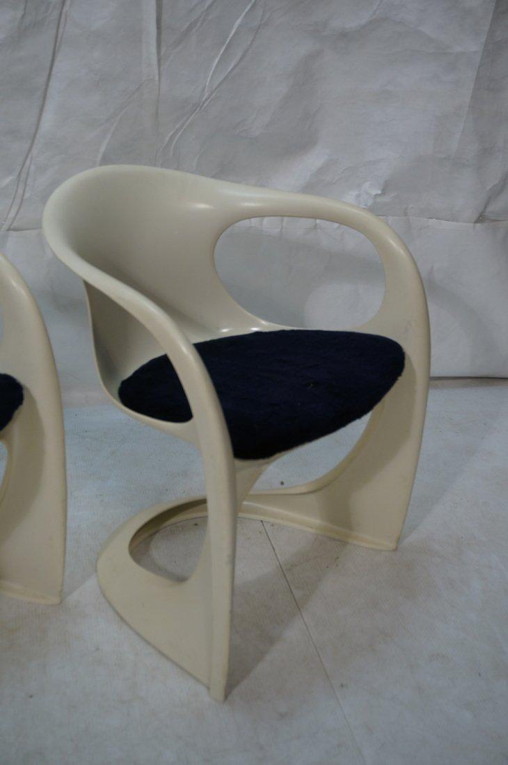 Pr VERNER PANTON Molded Plastic Side Chairs. Arm - 3