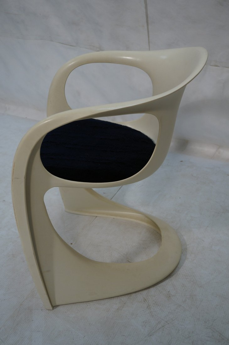 Pr VERNER PANTON Molded Plastic Side Chairs. Arm - 8