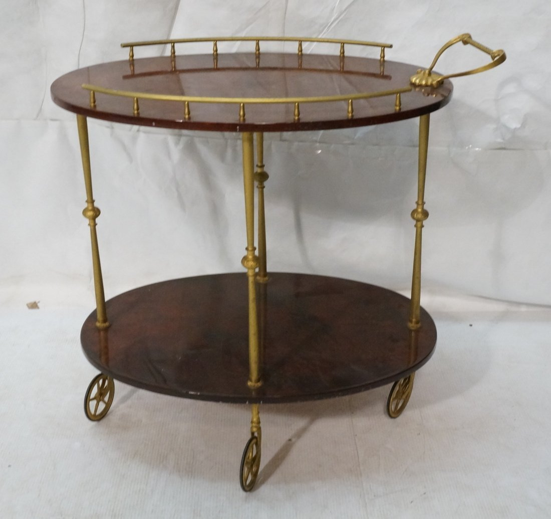 ALDO TURO Style Italian Bar Cart. Gilt metal fram