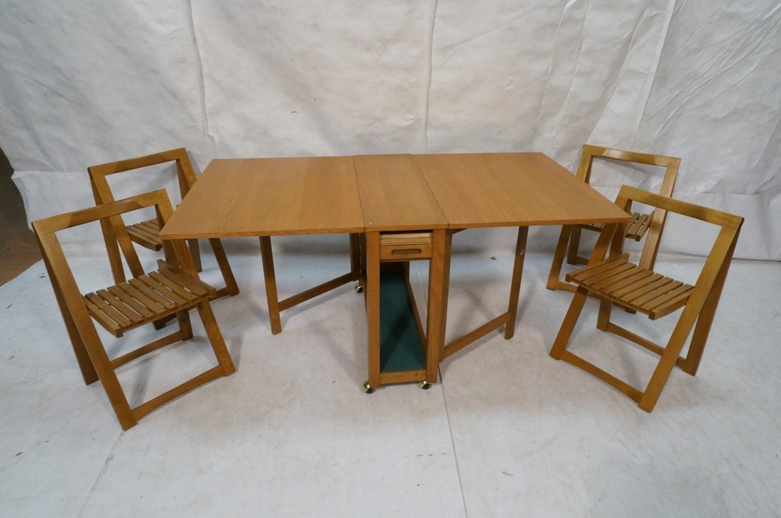 Modernist Gate Leg Table. Four folding chairs fit