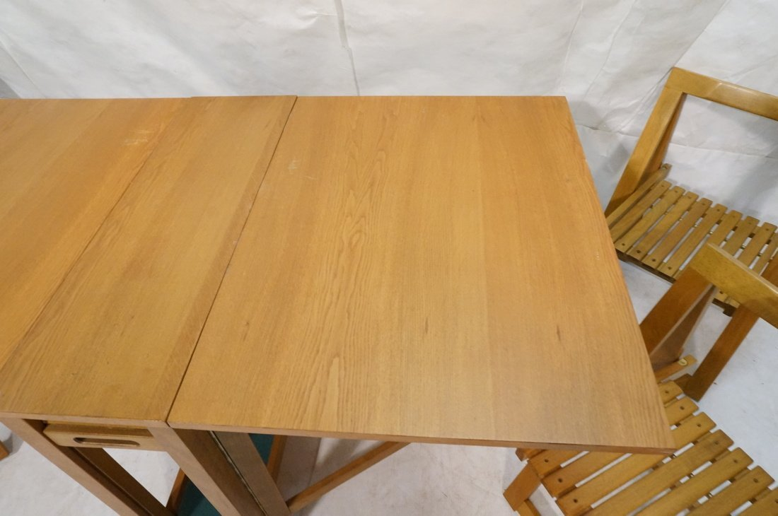 Modernist Gate Leg Table. Four folding chairs fit - 4