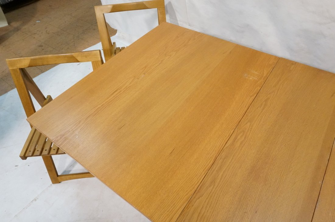 Modernist Gate Leg Table. Four folding chairs fit - 5