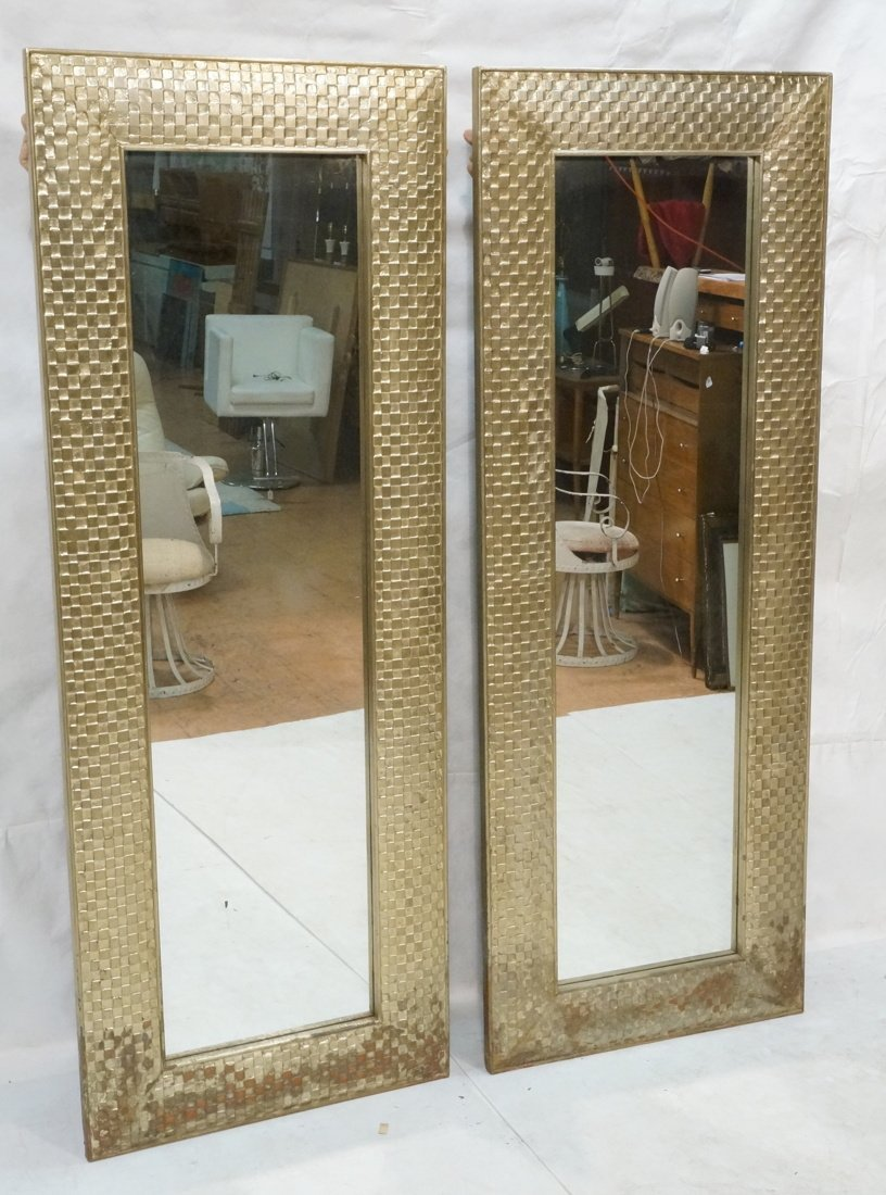 Pr Large Decorator Framed Wall Mirrors. Gilt wove