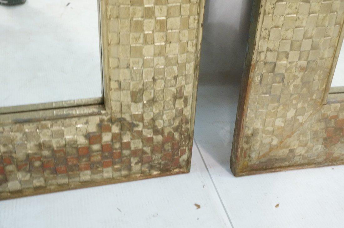 Pr Large Decorator Framed Wall Mirrors. Gilt wove - 4