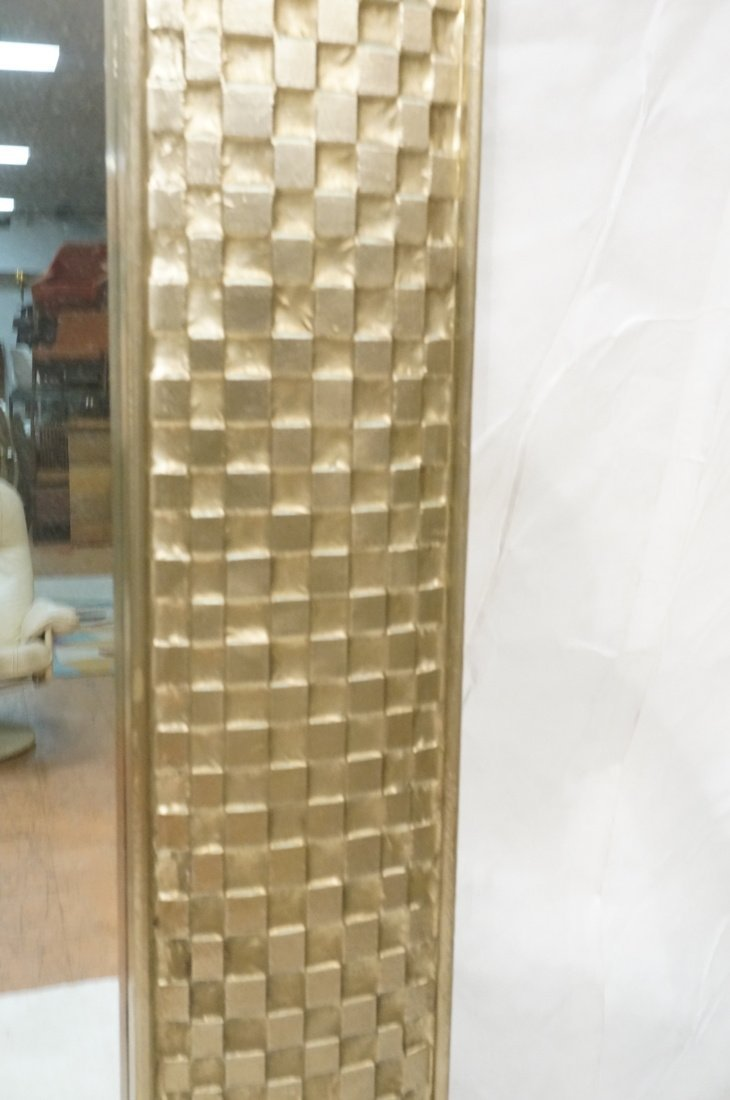 Pr Large Decorator Framed Wall Mirrors. Gilt wove - 7