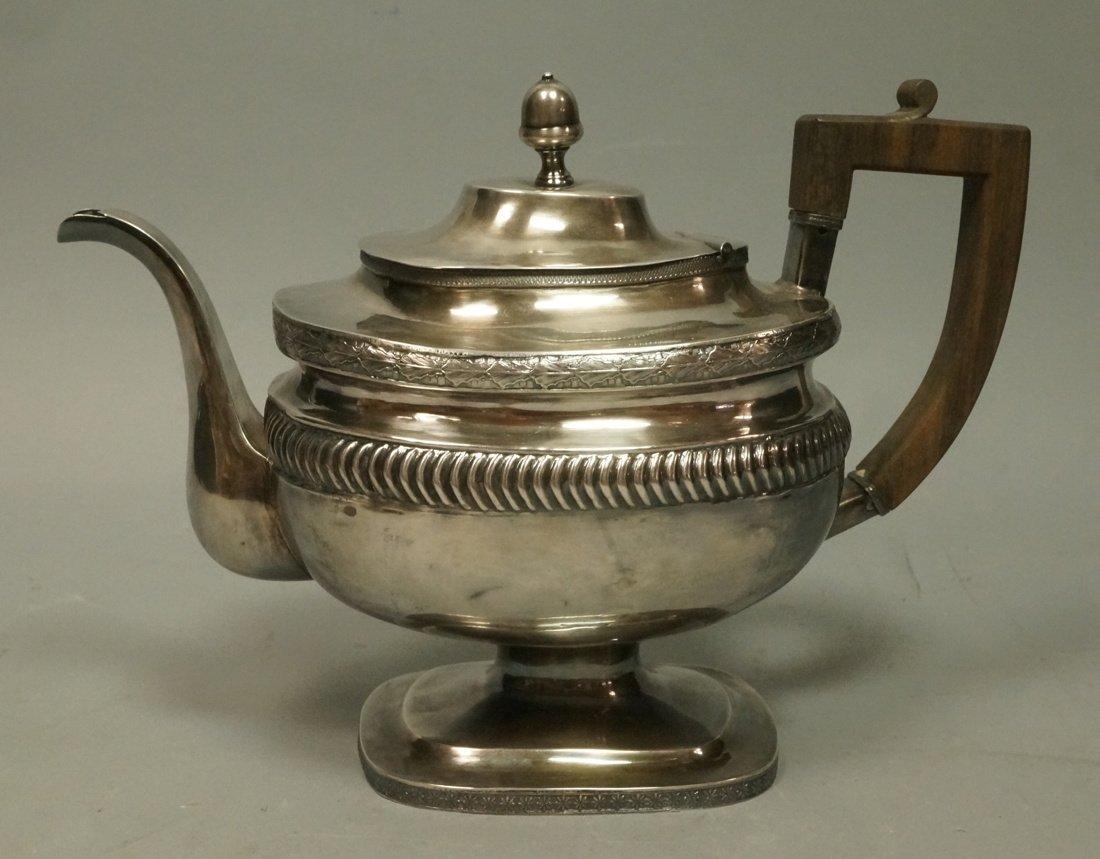 Early 19th Century Silver Tea Pot. Wood handle. R