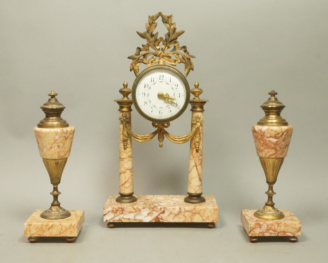 3pc Marble Clock & Girandoles. French Clock mount