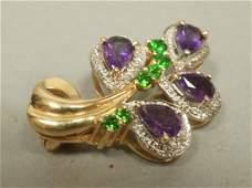 14K Gold Diamond Amethyst  Emerald Pin Brooch