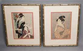 Pr Japanese Signed Wood Block Prints. One with tw