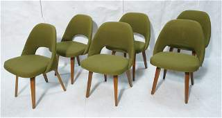 Set 6 KNOLL Dining Chairs with Walnut Legs. Marke