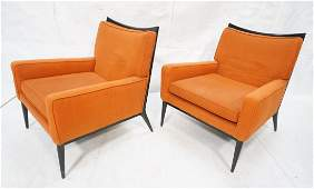 Pr PAUL McCOBB Ebonized Frame Lounge Chairs Ebon