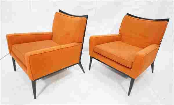 Pr PAUL McCOBB Ebonized Frame Lounge Chairs. Ebon