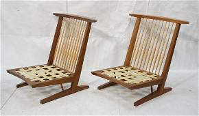 Pr GEORGE NAKASHIMA Conoid Lounge Chairs. Tops of