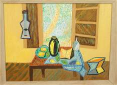 H. MOLLER Abstract Oil Painting. Still Life with