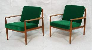 Pr Danish Teak Modern Lounge Chairs. GRETA JALK.
