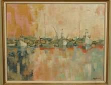 ROD J NORMAN Oil Painting. Modernist Harbor Scene