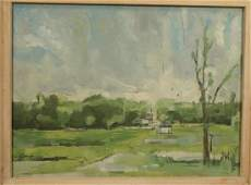 Signed CAMP Oil Painting on Canvas Gray skies wi