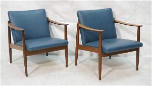 Pr SELIG style Modernist Lounge Chairs Sloped pa