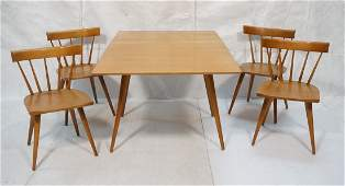 5 Pc PAUL McCOBB Dining Table and 4 Chairs Drop