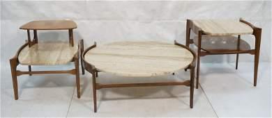 Italian three-piece travertine table set. Bertha