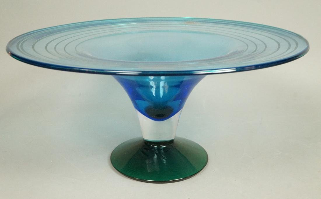 BLENKO American Art Glass Compote Bowl. Footed co