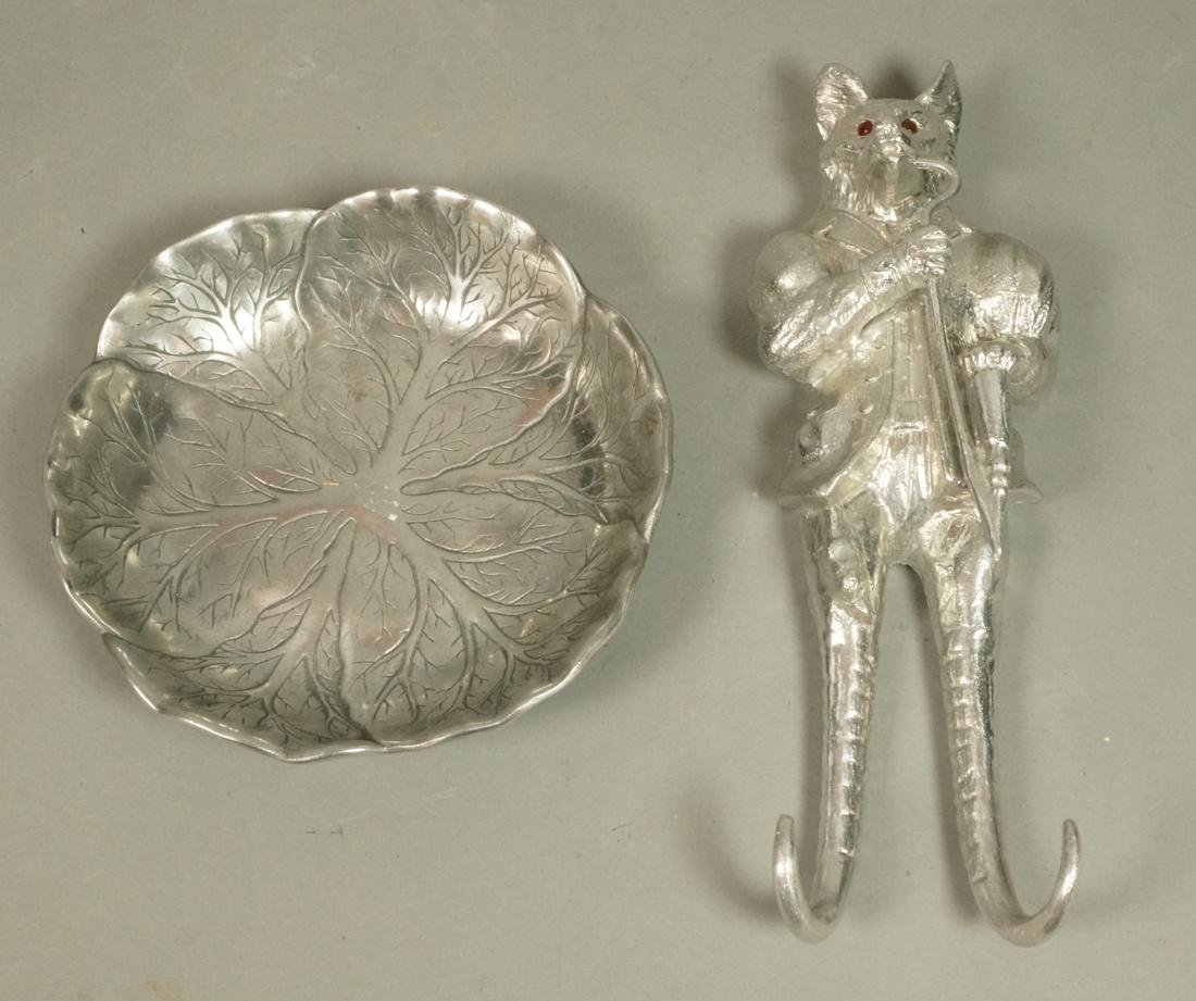 2 Pc ARTHUR COURT Pewter Lot. Figural fox wall mo