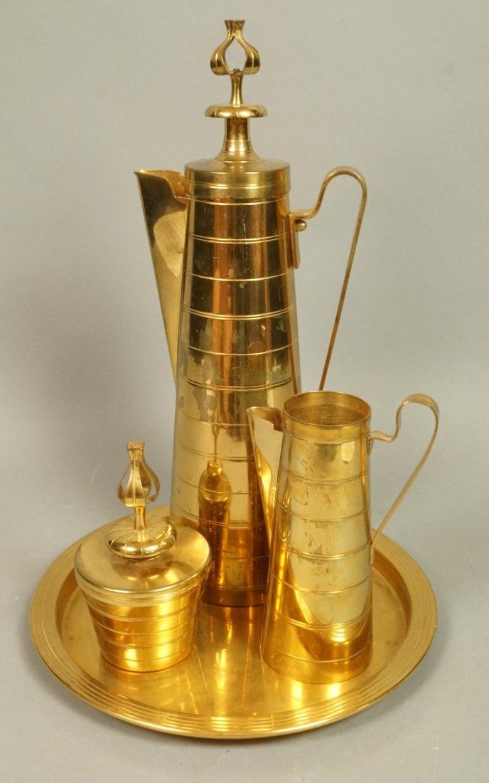 4 Pc TOMMI PARZINGER Brass Coffee Pot with Creame