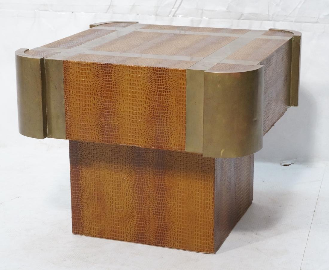Decorator Faux Skin Brass Side End Table. Faux re