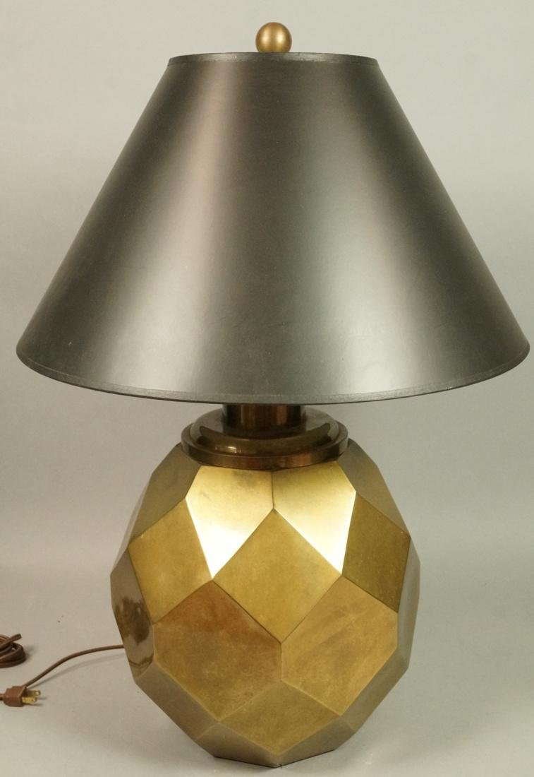 Decorator Faceted Brass Table Lamp. Black shade