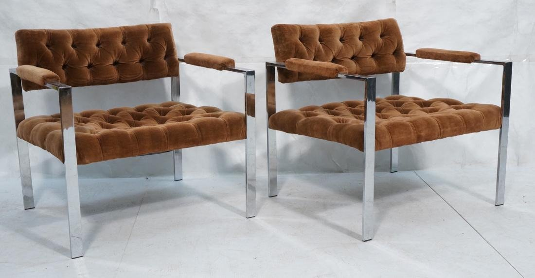 Pr MILO BAUGHMAN Chrome Frame Lounge Chairs. Flat